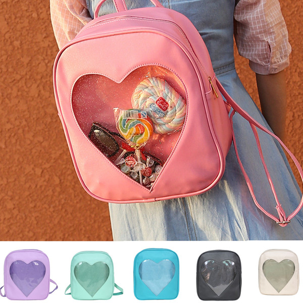 top popular Cute Style Transparent Love Heart Shape Backpacks Candy Solid Color Girls PU Small School Bag Backpack Women Casual Snack Shoulder Bags 2019
