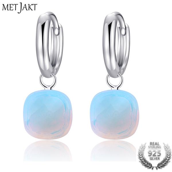 MetJakt Classic Natural Moonstone Drop boucles d'oreilles solides en argent sterling 925 pendentif boucle d'oreille pour les occasions des femmes bijoux fins Y18110110