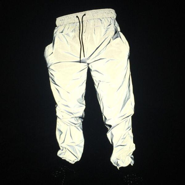 Free Drop Shipper Jogger Männer reflektierende Hosen Männer Hip Hop Frauen tanzen tanzen Nachtlicht glänzend blinken lange Hosen