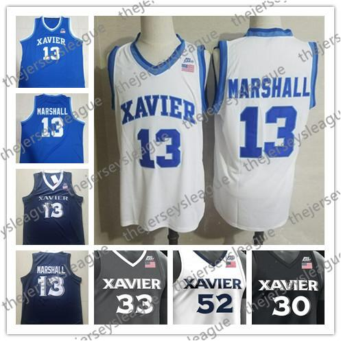 Xavier Musketeers #13 Naji Marshall 54 Sean O'Mara 0 Tyrique Jones Stitched White Blue Black Hot Sale NCAA College Basketball Jerseys