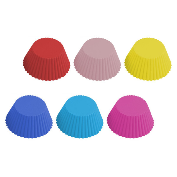 12pcs/lot 6 Colors Muffin Cupcake Mold, Free Shipping 7cm Round Silicone Cup Cake Tool DIY baking Pan 7CM