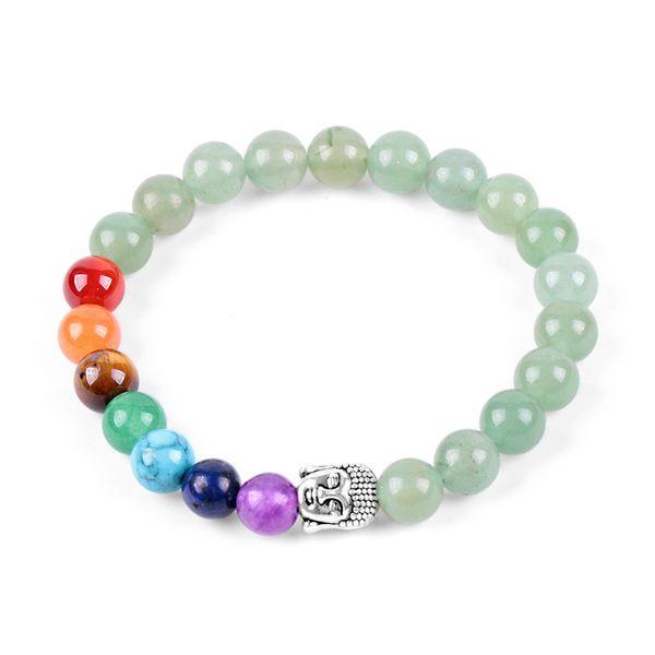 8 мм натуральный камень бусины рейки Будда браслеты зеленый авантюрин 7 чакра энергии Мужчины Женщины медитации браслет ручной работы
