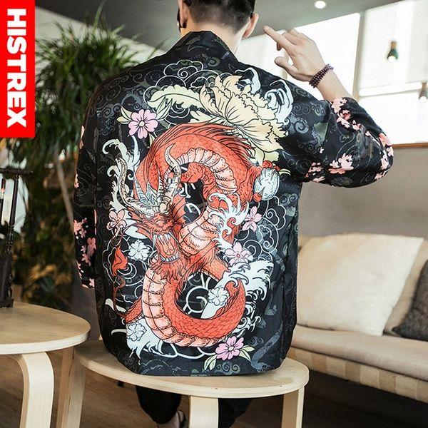 """HISTREX Men Jackets Print 'Chinese Dragon"""" Coat Shirt Man Summer Funny Kimono Harajuku Shirts Japanese Style Hawaii Shirts 5XL"""