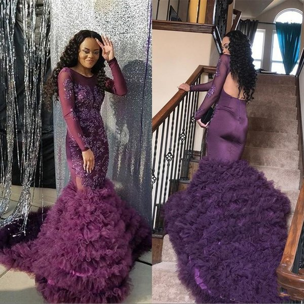 Sexy Beautiful Evening Dresses 2019 grape Jewel Mermaid Lace Applique Beaded Tired Skirt Prom Dresses Formal Party Gowns