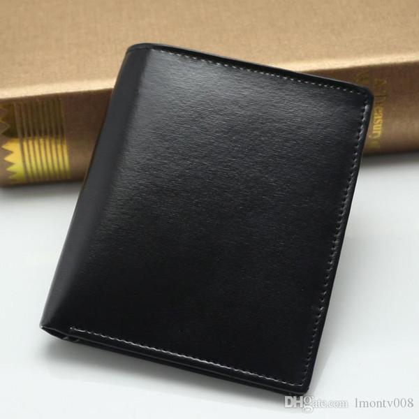 Os Novos homens de luxo popular o negócio da moda MB bolsa de cartão de couro genuíno saco preto curto carteira do vintage foto titular do cartão hol