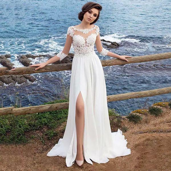 venta al por mayor vestidos de novia de la gasa playa 2018 Robe Mariage encaje Vintage Top mujeres elegantes vestido de novia marfil medias mangas lado Split
