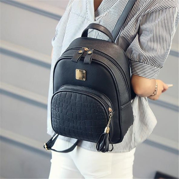 2018 Fashion Women Backpacks PU Leather Casual School Bags For Teenager Girls Bags For Women Female Preppy Style Small Backpack