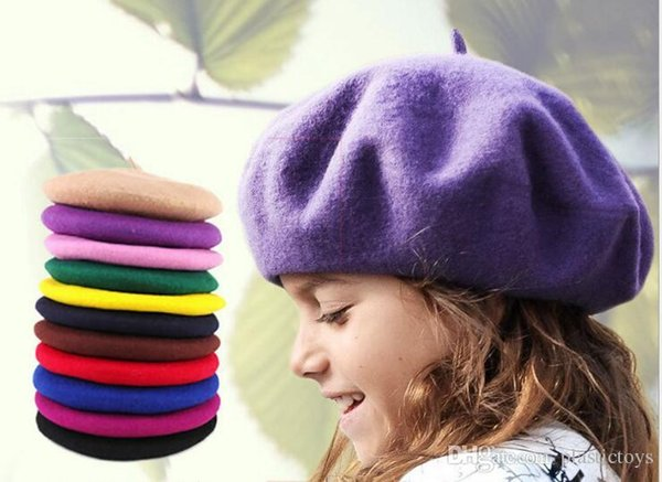 Wholesale-New Fashion Solid Color Warme Wolle Winter Frauen Mädchen Baskenmütze Französisch Künstler Beanie Hut Kind Baskenmütze 48-52cm