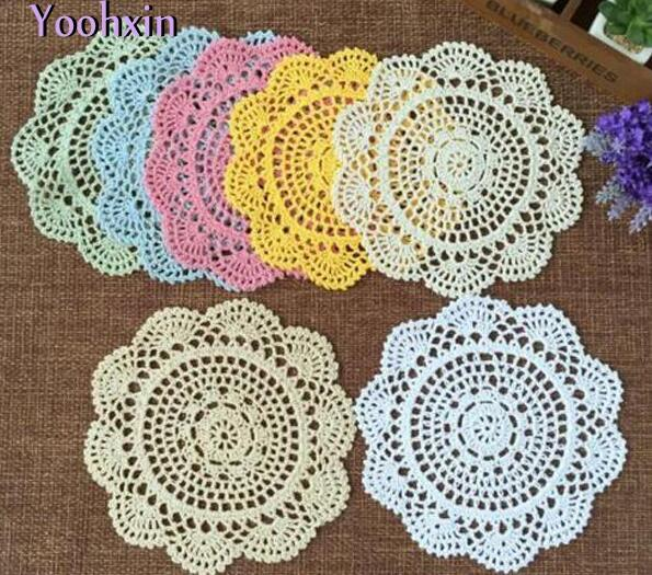 Modern Lace cotton table mat cloth kitchen crochet Placemat place mat Doily dining Cup mug coffee Coaster plate drink Pad