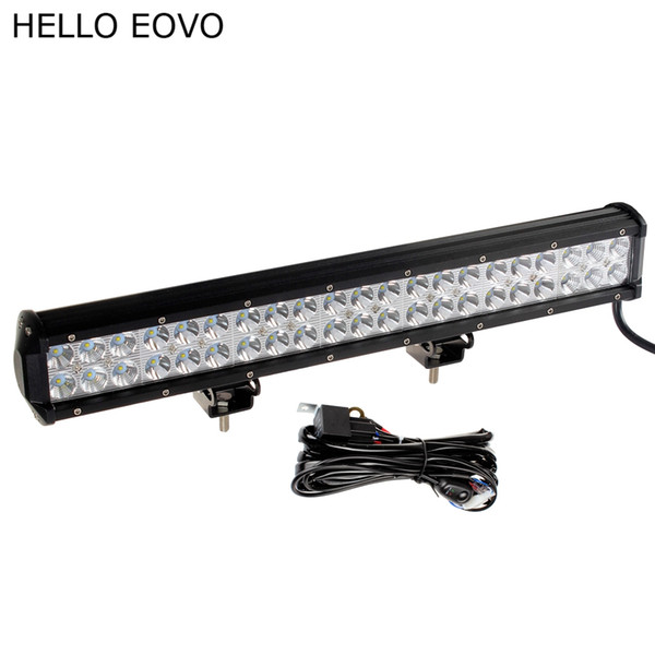 HELLO EOVO 20 Inch 126W LED Work Light Bar + Wiring Kit for Off Road Work Driving Offroad Boat Car Truck 4x4 SUV ATV Combo