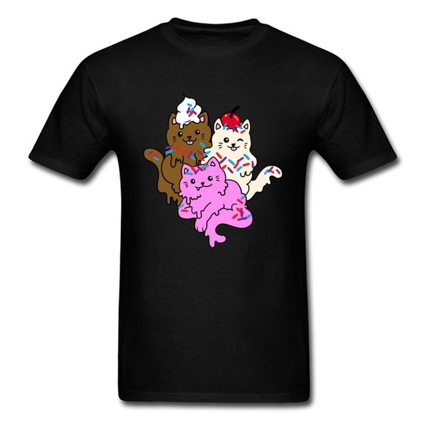Cute Little Kitten Graphic T-Shirts Meowapolitan Delight Summer/Fall Tops Tees New Coming Pure Cotton Classic Tee-Shirt Group Youth Tshirt