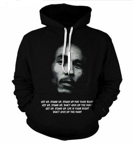 Mode Automne Hiver Hoodies Hommes Femmes Reggae Star Bob Marley Art 3D Imprimer Crewneck Hoodies Casual Poches Sweat Tops GG026