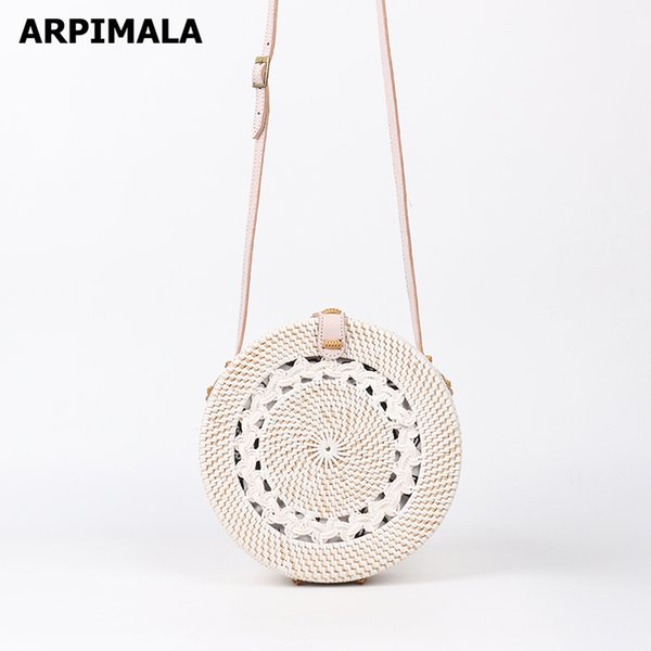 ARPIMALA Bolsas de Ratán Blanco Diseñador de Lujo Bolsos Mujeres Vintage Straw Bag Bali island Mimbre Bolsa de Playa Crossbody D18102303