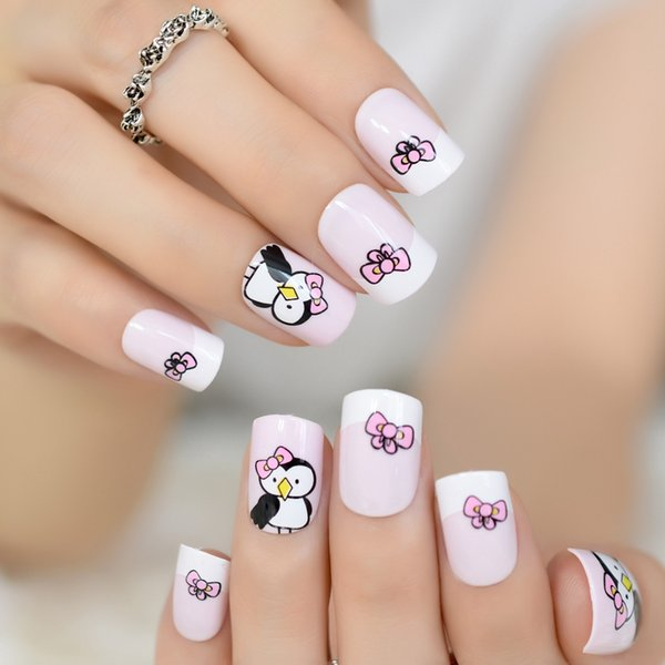 Baby Pink White French False Nail Tips Cute Bow Penguin Cartoon Pattern Fake Nails Square Full Cover Artificial Faux Ongle