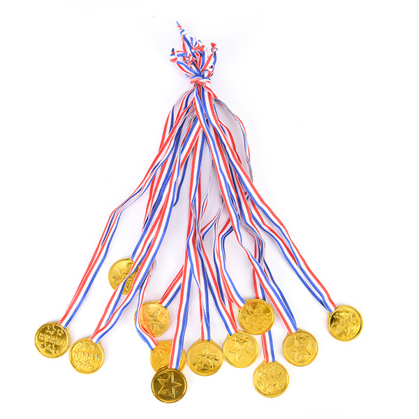 12 x Children Gold Plastic Winners Medals Sports Day Party Bag Prize Awards Toys For party decor