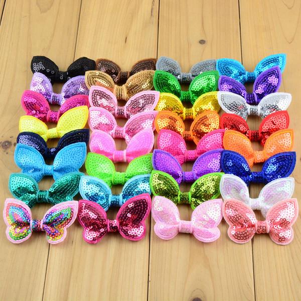 40 adet / grup 32 Renk U Seçim 2.36 Inç Glitter Kelebek Pullu Yay Düğüm Aplike Butik Saç Aksesuarları Diy Dikiş Zanaat Bow05