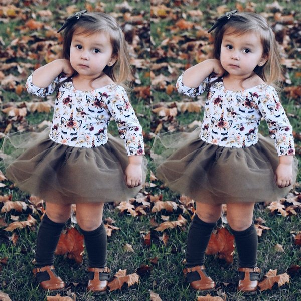 2018 new cute kid tulle tutu dress Pretty Newborn Kids Baby Girl Unicorn&Floral long sleeve Bodysuit Tulle Dress sweet Clothes