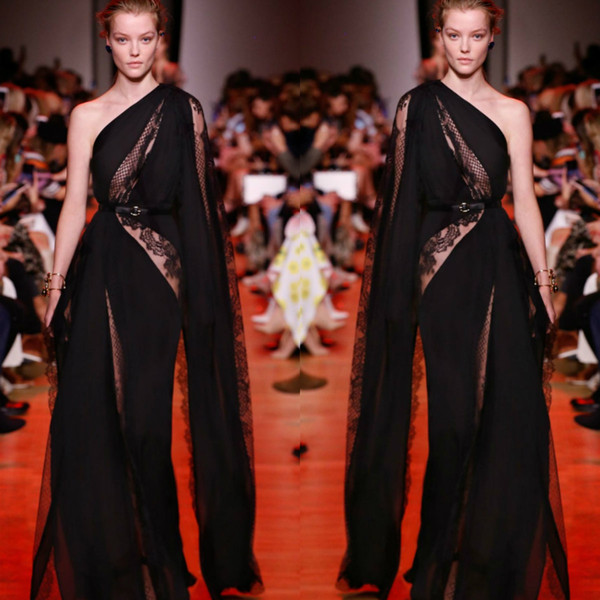 Elie Saab Black Prom Dresses Sexy Illusion Lace One Shoulder Appliques Evening Gowns With Lone Wrap Designer Party Dresses