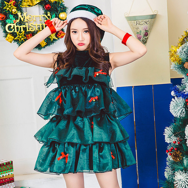 2018 NightClub Sexy DS Stage Dress Green Braces Skirt Christmas Santa Claus Cospaly Costume Disco Beach Party Beach Holiday Suit 8550