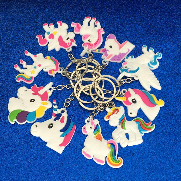 best selling New PVC Unicorn Keychain Key Ring Chains Bag Hang Pendant Plastic designer keyring Fashion Accessories Jewelry will and sandy drop ship
