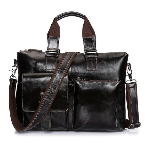 Factory wholesale brand package Handmade wax leather handbag business men Retro Leather Handbag bag pocket stereo cross section