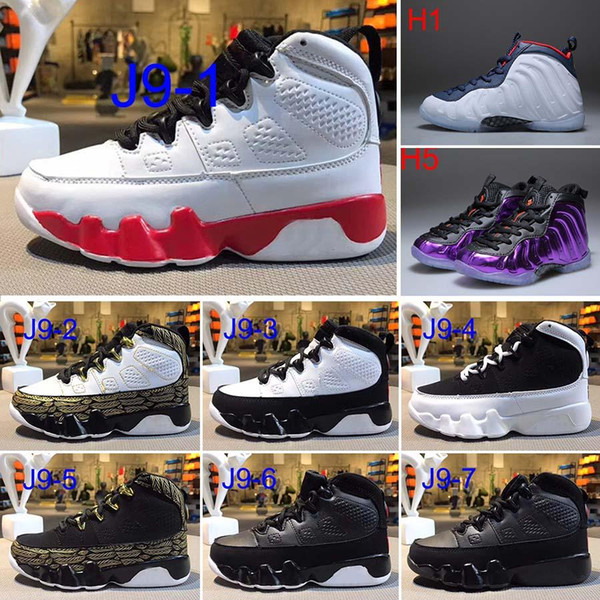 Free Shipping Kids 9 basketball Shoes [LA] 9s Sneakers Kids Size 28-35 For sale
