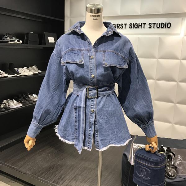 c7504d5ca98c 2018 Spring Denim Shirt Women New Retro Lapels Long Design Belt Waist Slim  Jeans Blouse Girls