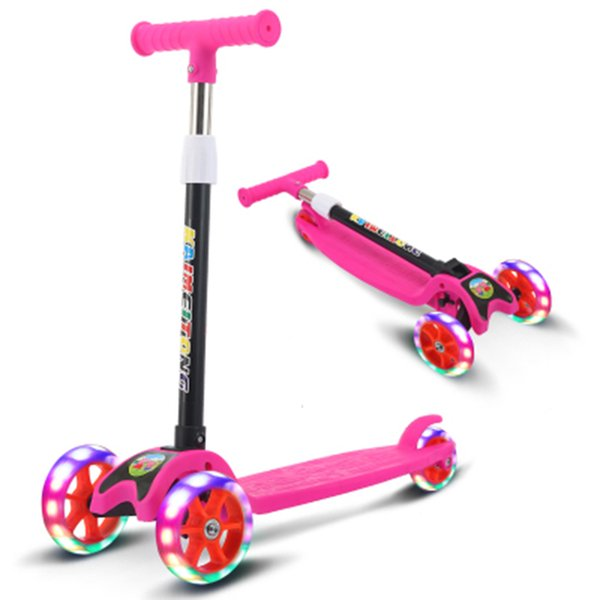 2018 new children's light scooter children three-wheeled folding bike slider flash 3 rounds of outdoor toys 2-15 years bike