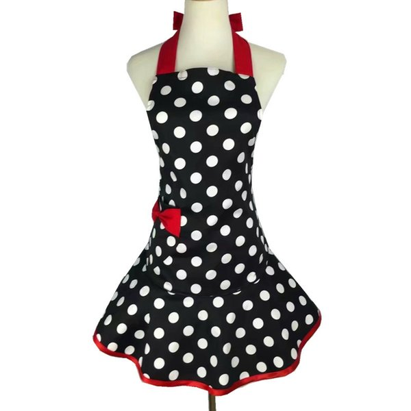 Sweetheart Retro Kitchen Apron Woman Cotton Polka Dot Cooking Salon Avental De Cozinha Divertido Pinafore Tablier Dress Vintage