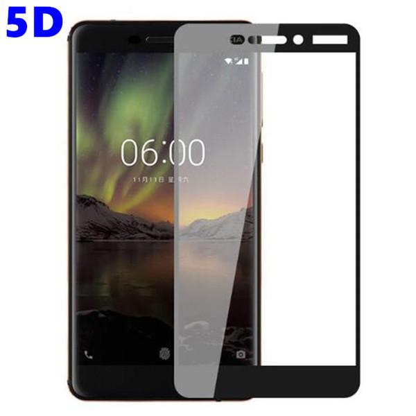 Protector de pantalla para Nokia 6 2018 Vidrio templado Nokia 6.1 TA-1068 TA-1050 TA-1043 TA-1016 TA-1045 Protector de pantalla Cubierta completa Pegamento completo