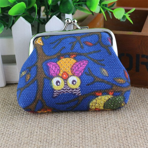 Storage Bag Organizer Women Lovely Style Canvas Lady Small Wallet Hasp Owl 9*7cm Purse Clutch Bag 2018 B#