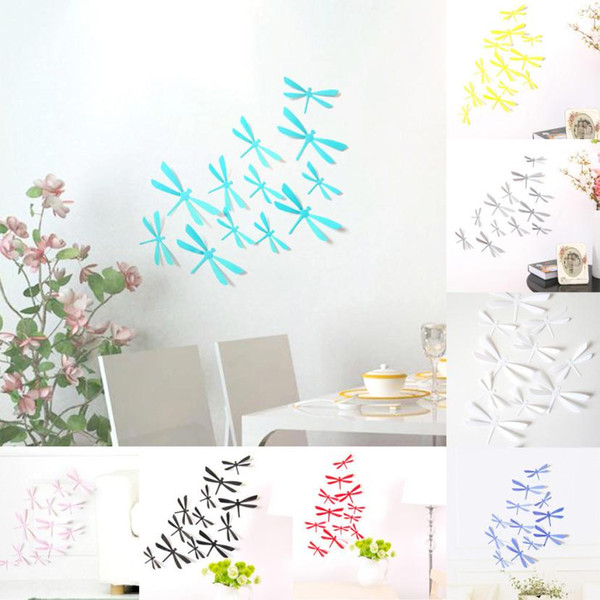 12pcs 3D DIY Decor Dragonfly Home Party Wall Stickers PVC Art Decal home decoration accessories wall decals