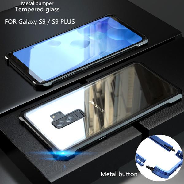 Para Samsung Galaxy S9 / S9 Plus / S8 / S8 Plus / S7 / S7 Edge Funda con marco de parachoques de aluminio metálico + Funda transparente de cubierta de vidrio templado
