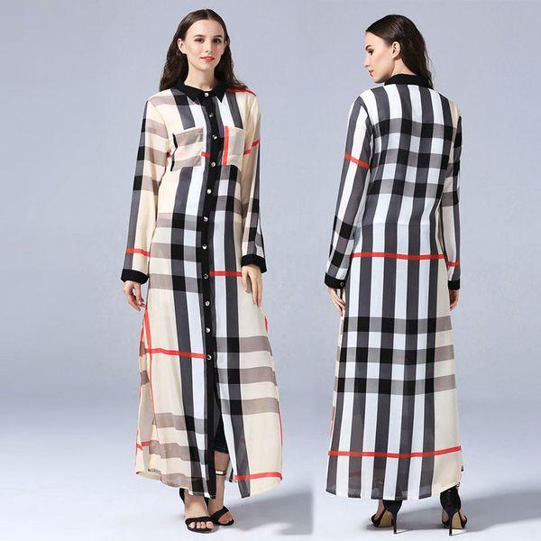 Mode Plus La Taille 7XL Femmes Musulmanes Bouton Complet Ouvert Abaya Robe De Mode Musulmane À Carreaux Col Rabattu Robe Turc Caftan De Dubaï Abaya