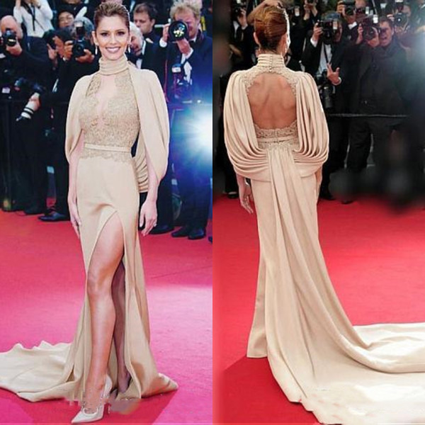 2017 Oscar Hot Red Carpet Celebrity Evening Dresses Sheath High Neck Illusion Lace Appliqued High Split Formal Party Gowns Keyhole Backless