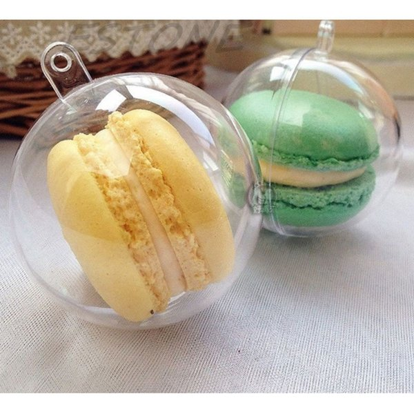 4/5/7/8cm Clear Christmas Decor Hanging Round Ball Baubles Ornament Xmas Tree Home Decor Christmas Candy Chocolates Box
