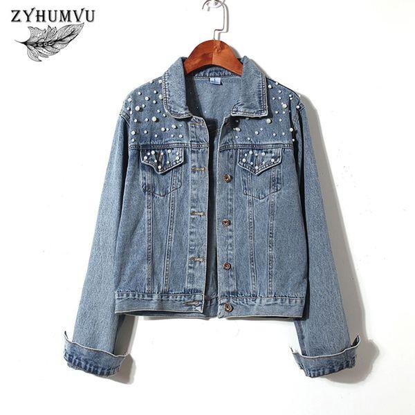 Short Bomber Denim Jacket Women 2018 New Fashion Beaded Solid Harajuku Student Coat Tops Jeans Ladies Casual Cowboy Jackets ZY10