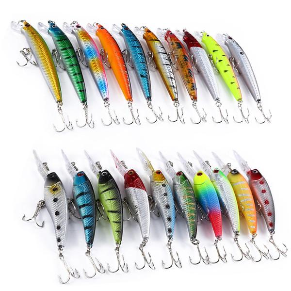 20 Pcs 2 Models Mixed Fishing Lure Minnow Crank Bait Fishing Tackle hard plastic artificial Baits
