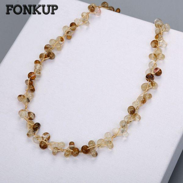 Fonkup Natural Quartz Necklace Round Transparent Bead Chain Women Jewellery Woven Accessories Men Short Sieraden Maken Geode Bag