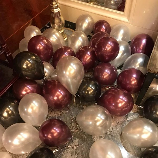 12 Pearl Wine Red Burgundy Latex Balloons Sparkling Weddings Bride Baby Shower Birthday Graduation Prom Party Decorations Hotair Balloon Balloon Fun