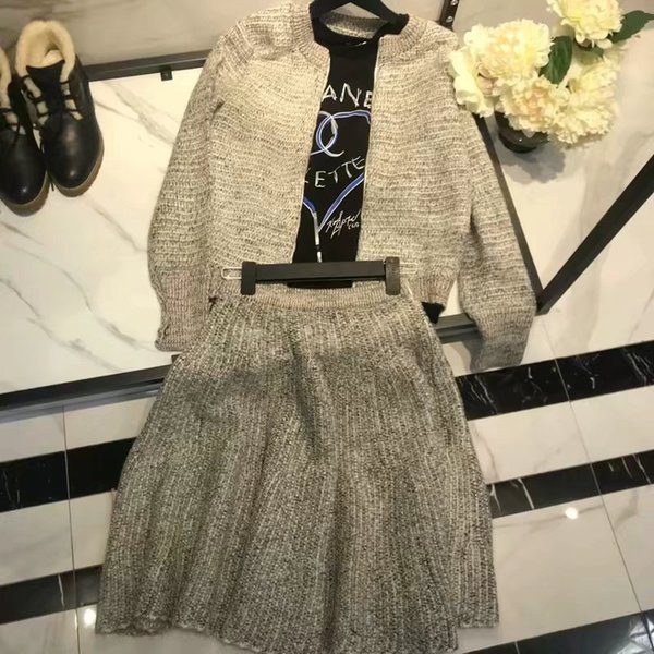 Women Dress Spring Clothes New Pattern Gray Suit Zipper Long Sleeves Knitting Jacket Word Half Body Skirt Two Piece Set