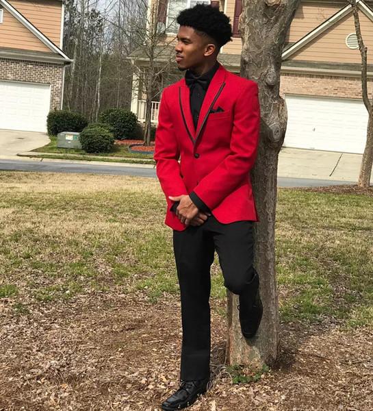 Red Mens Abiti Slim Fit Tre Pezzi Groomsmen Smoking di nozze per uomo Risvolto con risvolto di alta qualità formale Prom Party Suit (Jacket + Bowtie)