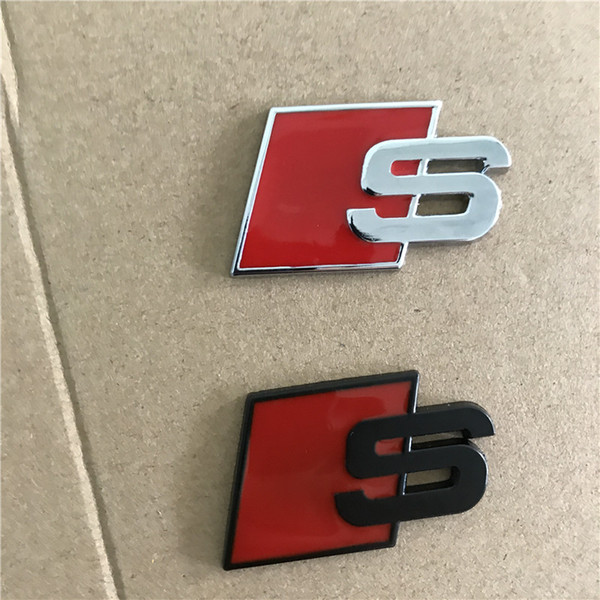 best selling Metal S Logo Sline Emblem Badge Car Sticker Red Black Front Rear Boot Door Side Fit For Audi Quattro VW TT SQ5 S6 S7 A4 Accessories