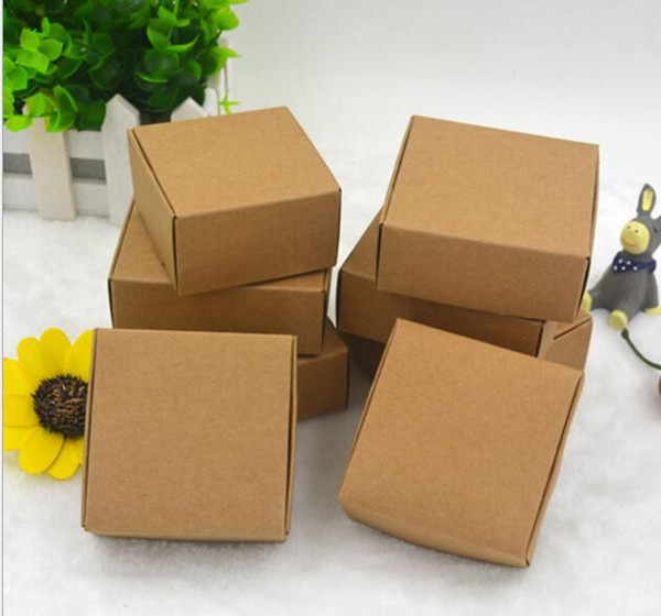 Wholesale 7.5X7.5x3CM Small Brown Kraft Paper Box Carton Packing boxes for GIft Wedding Candy Phone Accessories free shipping