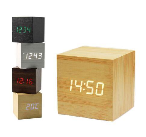 Free shipping Mini Cube Wooden Clock Voice Control Electronic Desk Clock with LED Digital Table Watch Snooze Cute Alarm Clock for kid