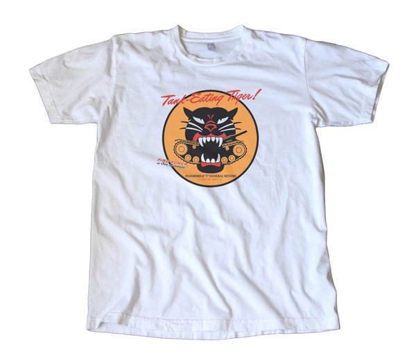 Vintage Oldsmobile WWII Tank Eating Tiger T-Shirt - Military, Army, Rockabilly