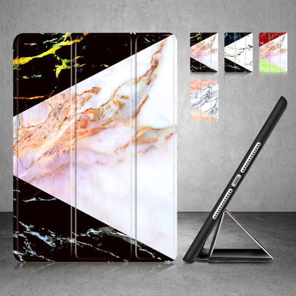 Marble Lightweight Trifold Stand with Auto Sleep Wake Soft Back Smart Case Cover for Apple New iPad 2017 2018 2 3 4 Air Air2 Pro 9.7 10.5