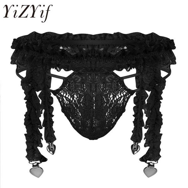 d83435ab3f23 YiZYiF Super Sexy Mens Lingerie Lace See Through Ruffled Sissy G-string  Underwear Set 4