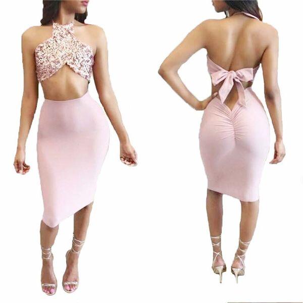 donna due pezzi oro rosa con paillettes gonna top sexy aderente midi capestro vestito wiggle matita breve prom vestito clubwear due pezzi