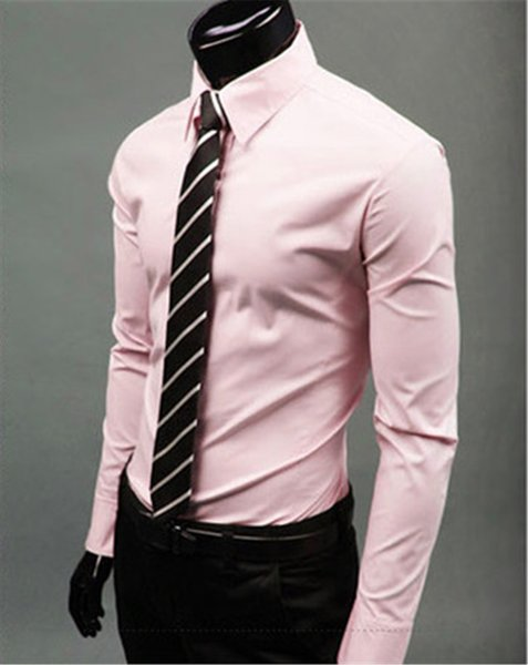 New Fashion Brand Pink Groom Shirts Long Sleeve Shirt Men Slim Design Formal Casual Male Dress Shirt Size M-5XL (C8004)